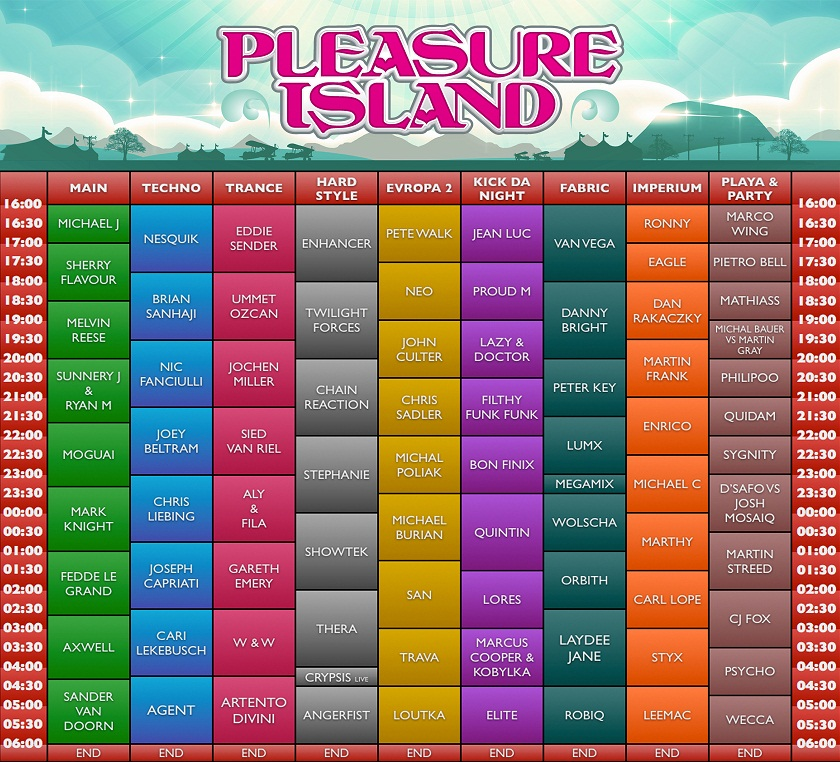 Pleasure Island Timetable