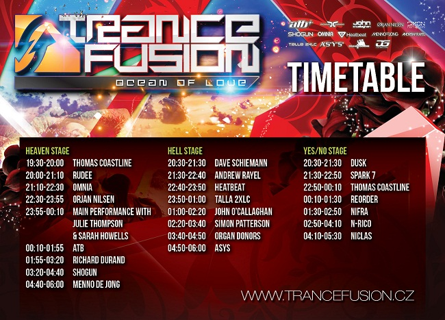 TranceFusion TimeTable